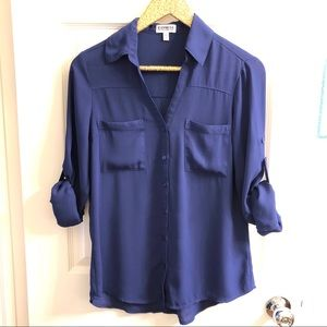 EXPRESS Portofino Blue Button Down Blouse